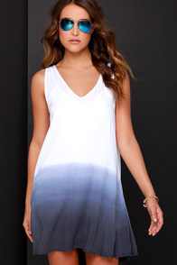 BB Dakota Mathis Ivory and Blue Dip-Dye Dress at Lulus.com!