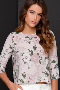 BB Dakota Parisa Blush Floral Print Top at Lulus.com!
