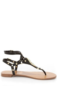 Dolce Vita Darva Black Metal Plated Thong Sandals at Lulus.com!