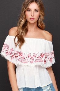 Austin Pretty Limits Embroidered Ivory Off-the-Shoulder Top at Lulus.com!