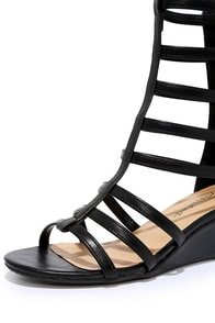 City Classified Snow Black Caged Gladiator Sandals at Lulus.com!