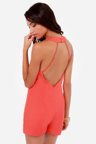 The Pleat Goes On Backless Coral Romper at Lulus.com!