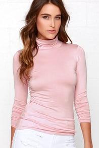 Neck's in Line Blush Pink Turtleneck Top at Lulus.com!