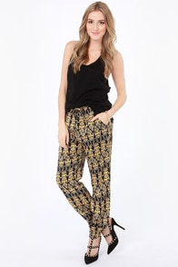 Gild to Pieces Baroque Print Cropped Pants