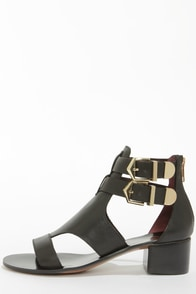 Report Signature Darian Black Belted Leather Sandals