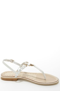 Good Choice Princess Cut Silver Bejeweled Thong Sandals at Lulus.com!