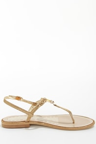 Good Choice Princess Cut Gold Bejeweled Thong Sandals at Lulus.com!