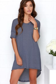Rows Garden Ivory and Navy Blue Striped Dress at Lulus.com!