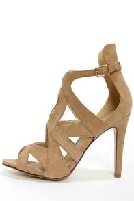Sonya 4 Taupe Strappy Peep Toe Heels