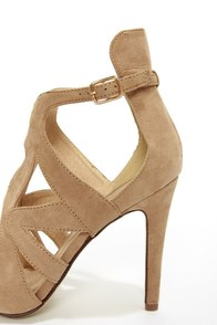 Sonya 4 Taupe Strappy Peep Toe Heels at Lulus.com!