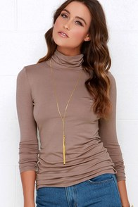 Neck's in Line Mocha Brown Turtleneck Top at Lulus.com!