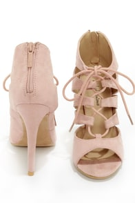 Michael Antonio Jacqueline Blush Lace-Up Peep Toe Heels at Lulus.com!
