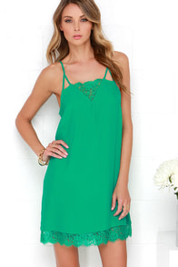 Off to Ibiza Green Lace Slip Dress at Lulus.com!