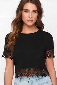 Glamorous Driving Me Daisy Black Crop Top at Lulus.com!