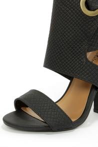 Michael Antonio Jace Black Snake High Heel Sandals at Lulus.com!