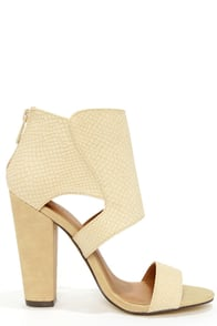 Michael Antonio Jace Natural Snake High Heel Sandals at Lulus.com!