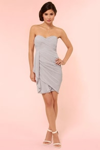 Midnight Masquerade Strapless Grey Dress