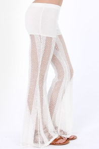 RVCA Kozmic Sheer Ivory Lace Pants at Lulus.com!
