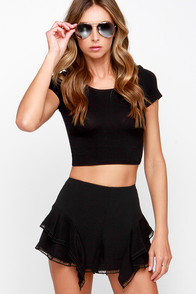 JOA Lagoon Ruffly Black Shorts at Lulus.com!