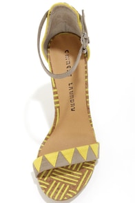 Chinese Laundry La Paz Natural Multi Print Ankle Strap Heels at Lulus.com!