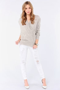 Thrilled to Knits Grey Sweater at Lulus.com!
