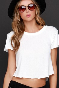 Obey Mini Mental Ivory Cropped Tee at Lulus.com!