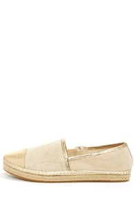 Steve Madden Destiney Taupe and Gold Loafer Flats