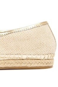 Steve Madden Destiney Taupe and Gold Loafer Flats at Lulus.com!