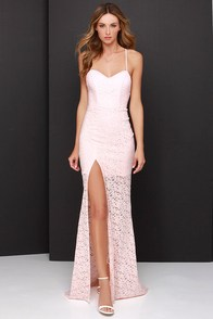 Sweetheart to Heart Peach Lace Maxi Dress at Lulus.com!