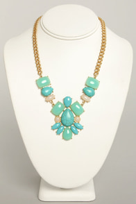 Carved in Stone Turquoise Rhinestone Necklace at Lulus.com!