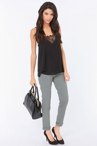 RVCA Sleeper Grey Skinny Pants at Lulus.com!