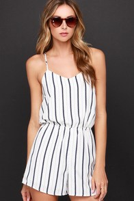 For Sienna Jump Rope Navy and Ivory Striped Romper at Lulus.com!