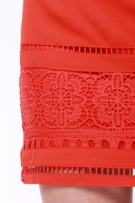 Crochet Up Late Red Orange Lace Skirt at Lulus.com!