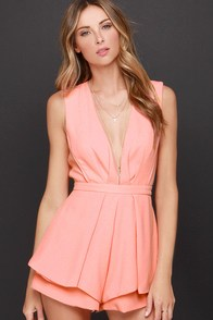 It's a Kind of Magic Peach Romper at Lulus.com!