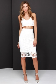 Lacy Daisy White Two-Piece Dress at Lulus.com!