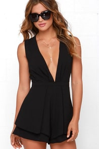 It's a Kind of Magic Black Romper at Lulus.com!