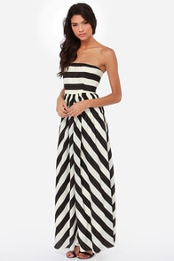 Dreamboat Come True Ivory and Black Striped Maxi Dress at Lulus.com!
