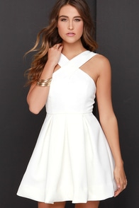 Pleats in a Pod Ivory Skater Dress at Lulus.com!