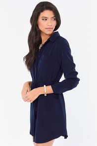 LULUS Exclusive Vote of Confidence Navy Blue Shirt Dress at Lulus.com!