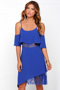 Neither Tier Nor There Blue Lace Dress at Lulus.com!