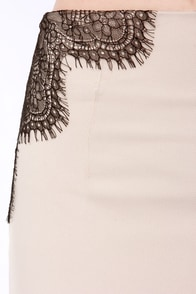 Bariano Into the A-Bliss Black and Beige Lace Maxi Skirt at Lulus.com!