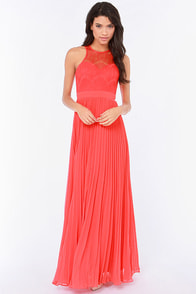 Bariano Stun In a Million Coral Red Lace Dress