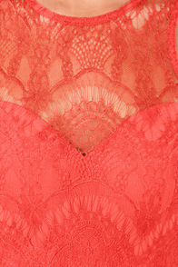 Bariano Stun In a Million Coral Red Lace Dress at Lulus.com!