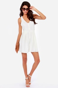 What a Flirt Cutout Ivory Dress at Lulus.com!
