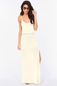 Breezy Come, Breezy Go Cream Maxi Dress