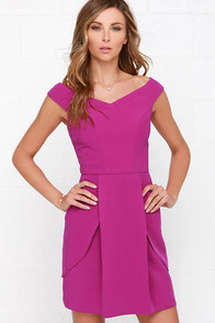 Lovely Day Magenta Off-the-Shoulder Dress at Lulus.com!