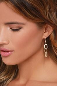 Keep the Chain Gold Rhinestone Earrings at Lulus.com!