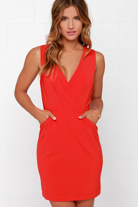 Business and Pleasure Coral Red Dress at Lulus.com!