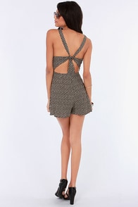 Good Vibrations Cutout Backless Black Print Romper at Lulus.com!