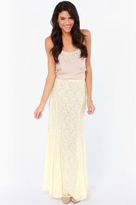 Boho With the Flow Cream Lace Maxi Skirt